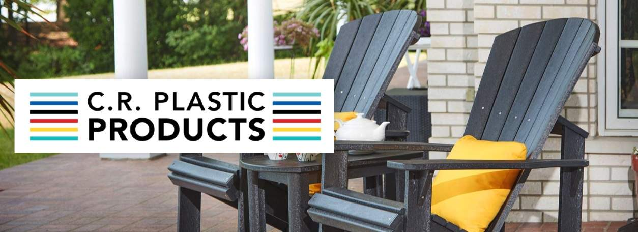 CR Plastic Products logo with outdoor CR chairs