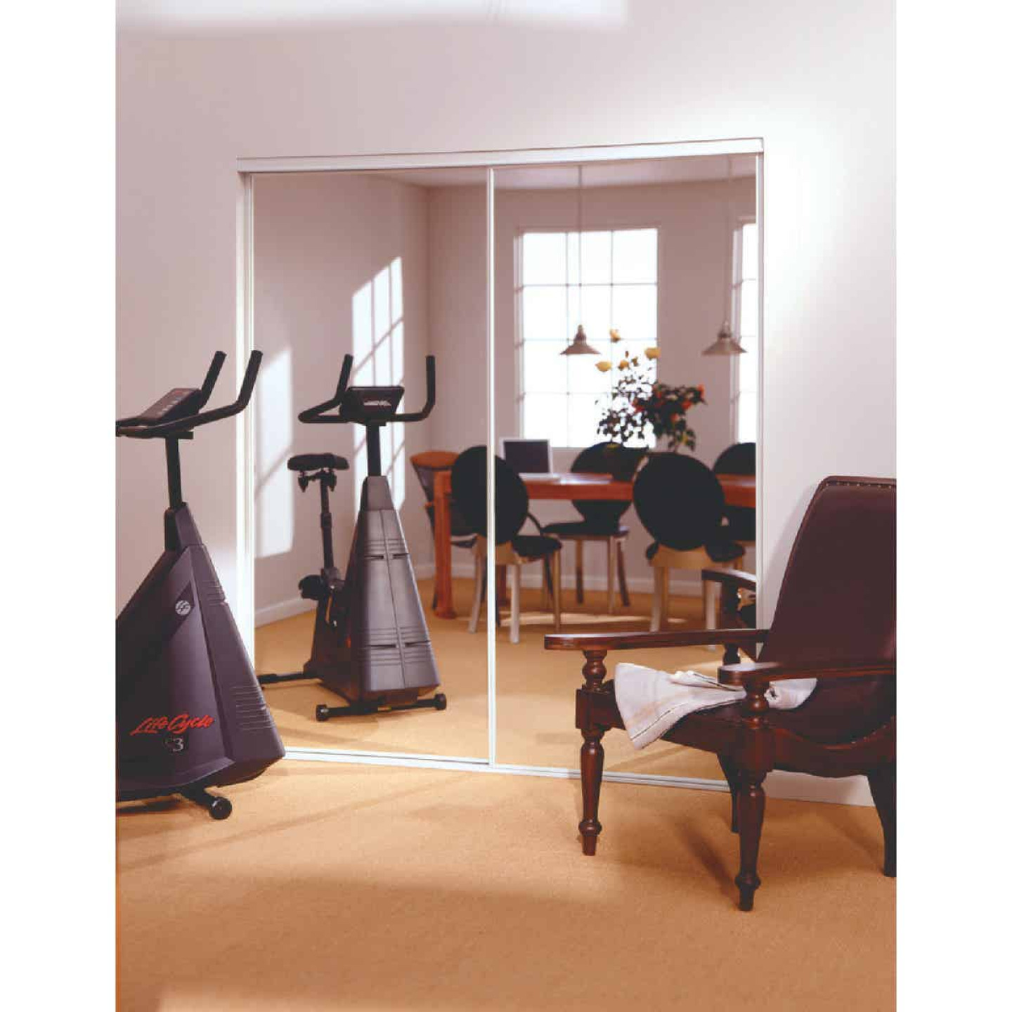 Erias 4260 Series 47 In. W. x 80-1/2 In. H. Bright White Bottom Roll Mirrored Bypass Door Image 1