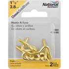 National Solid Brass 1-1/2 In. Hook & Eye Bolt (2 Ct.) Image 2