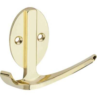 Stanley Home Designs Polished Brass Modern Double Robe Wardrobe Hook