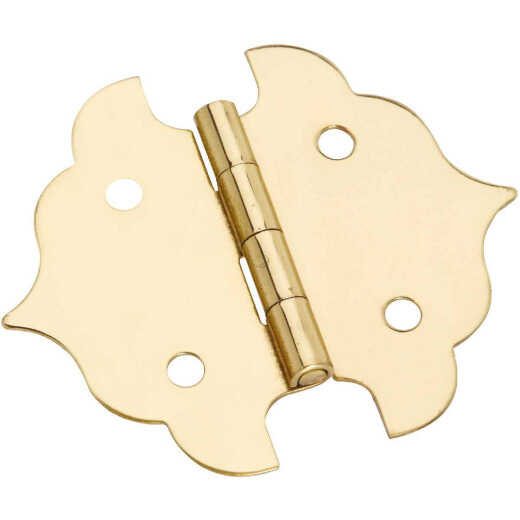 National 1-1/8 In. Antique Brass Decorative Hinge (2-Pack)