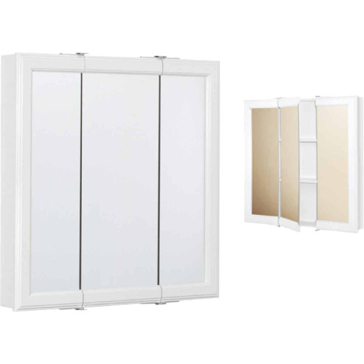 Continental Cabinets White 24 In. W x 24 In. H x 4-1/2 In. D Tri-View Surface Mount Medicine Cabinet