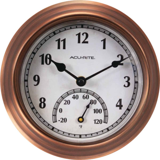 Acurite 8.5 In. Brushed Copper Wall Clock/Thermometer