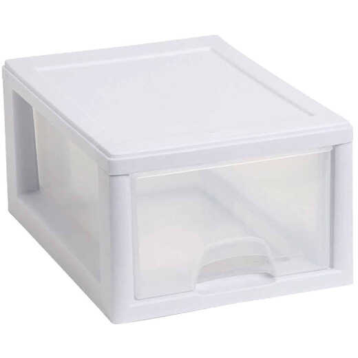 Sterilite 8 In. x 6 In. x 12 In. 6 Quart White Stackable Storage Drawer