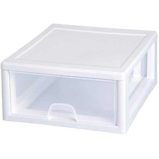 Sterilite 14 In. x 6 In. x 17 In. 16 Quart White Stackable Storage Drawer