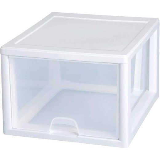 Sterilite 14 In. x 10.25 In. x 17 In. 27 Quart White Stackable Storage Drawer