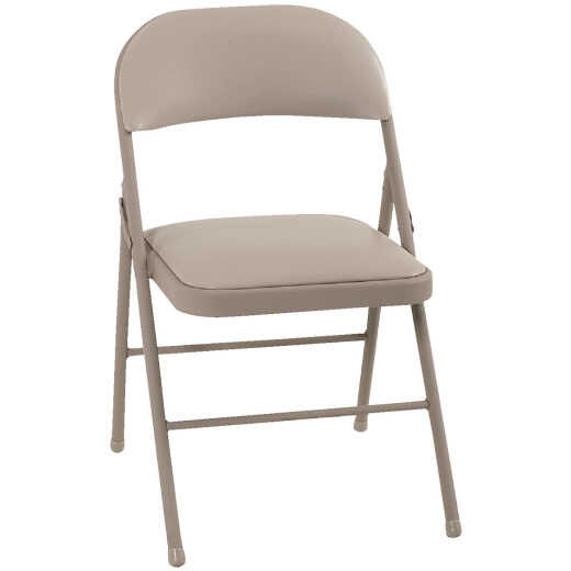 COSCO Beige Vinyl Padded Folding Chair
