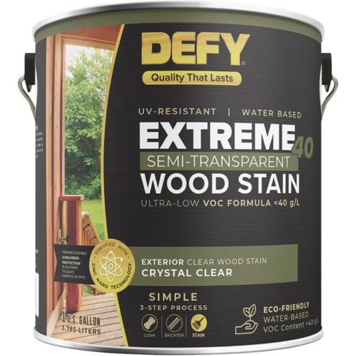 Defy Extreme 40 VOC-Compliant Semi-Transparent Exterior Wood Stain, Crystal Clear, 1 Gal.